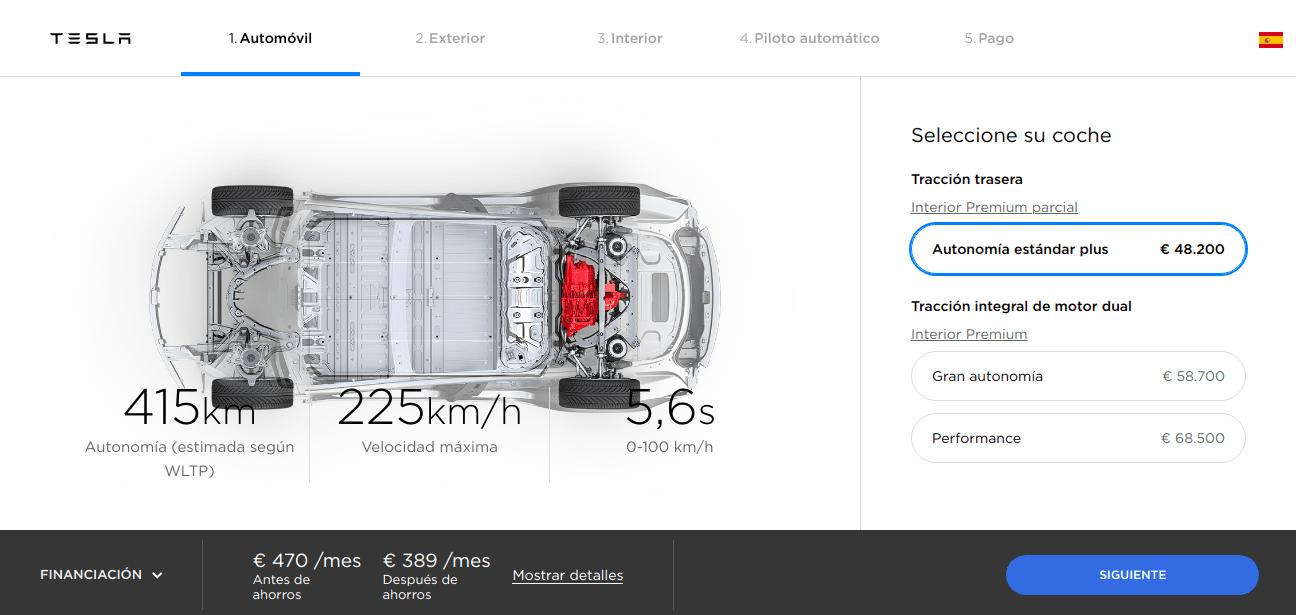 Configurador Tesla Model 3 estandar plus